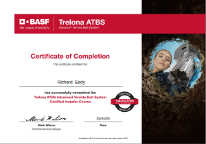trelona atbs termite treatmentsystem certification
