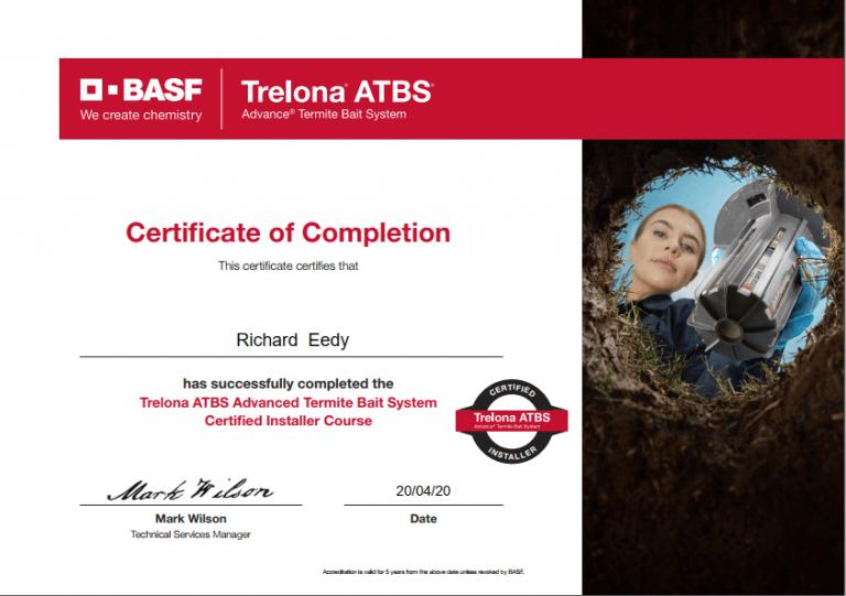 trelona atbs termite control system certification
