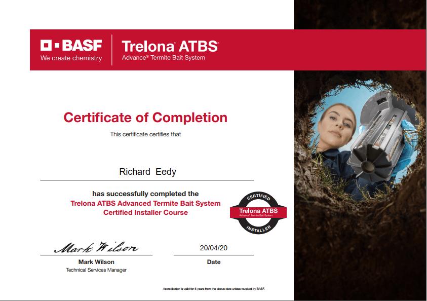 trelona atbs termite treatmentsystem certification