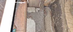 Termite mudding in a subfloor