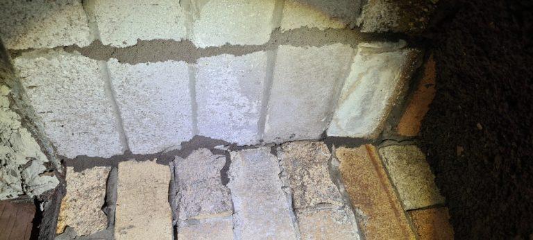 Termite leads climbing brickwork in a subfloor area
